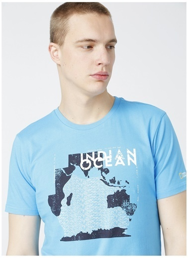 National Geographic National Geographic Erkek Mavi BisikletYaka T-Shirt Mavi